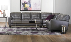 Violino Classico Pewter Top-Grain Leather Flare Arm Sectional Sofa in Living Room