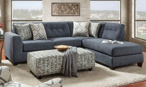 Sensation Handmade Tufted Chaise Sectional Sofa with 86-Inch Chaise in Slate Blue