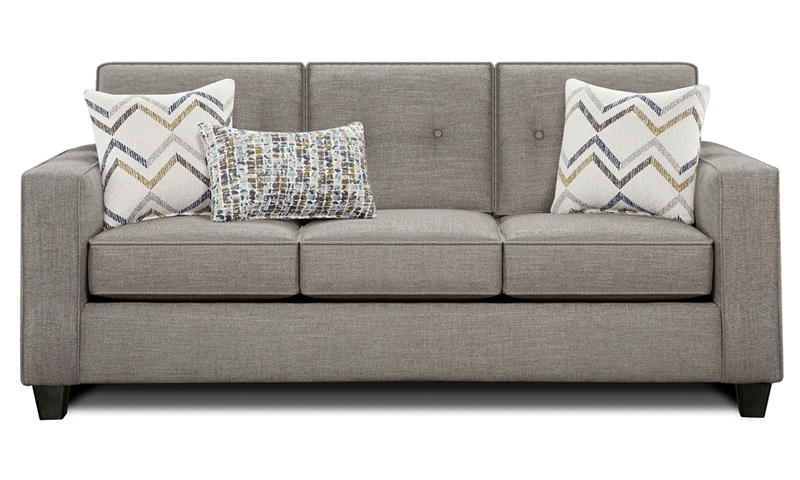 Sensation Vintage Handmade Tufted Track Arm Sofa in Gray Fabric with Accent Pillows