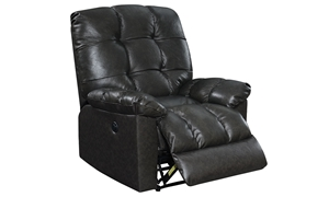 Dark Grey Biscuit-Tufted Leather Power Recliner