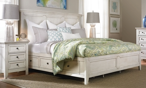 San Mateo White Arts & Crafts King Storage Bed