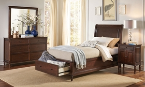 Avignon Cherry Bedroom Suite with Sleigh Bed, Dresser and Mirror