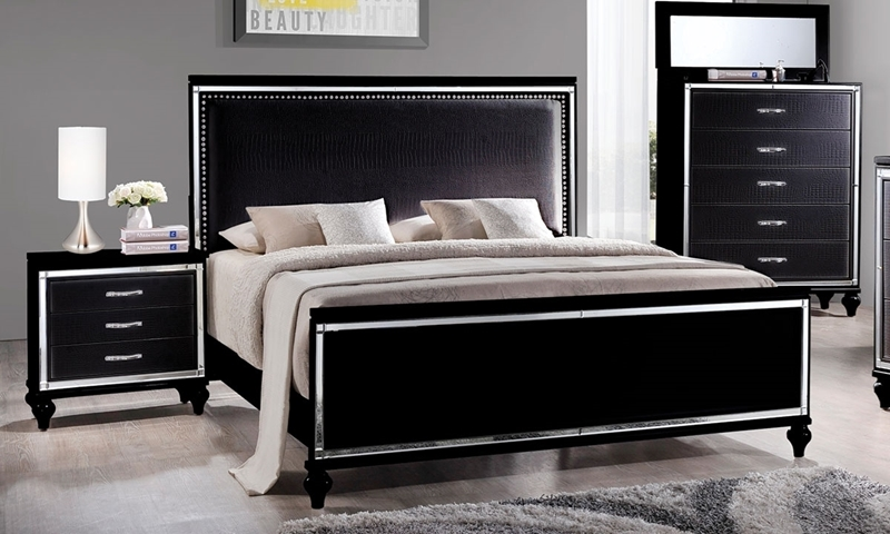 Miami Black Glam King Bedroom Suite With Alligator Embossing And Mirror Trim