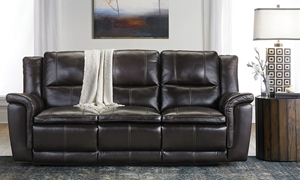 92-Inch Top-Grain Reclining Sofa with Power Headrest