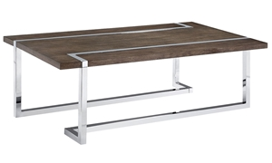 Kieran Contemporary & Modern Cocktail Table with charcoal color wood and chrome angled base