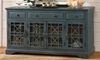 Jofran Craftsman 60-Inch console in slightly distressed antique blue finish with 3 cabinets, 3 drawers and soft bronze hardware