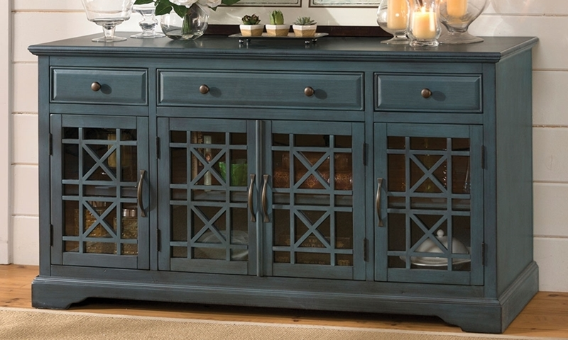 Jofran Craftsman 60 Inch Antique Blue Media Console Haynes