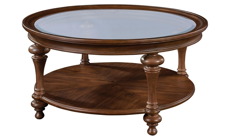 Broyhill Cascade Round Glass Top Traditional Cocktail Table with Lower Display Shelf in Brown Finish