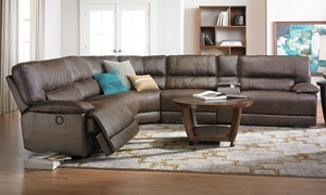 Karma Oversized Power Reclining Sectional Sofa in Brown Faux Leather with 3 recliner, USB Charging, Storage Console and Cup Holders