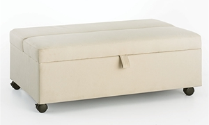 Cream Stain Resistant Twin Sleeper Ottoman with Casters