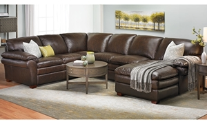 Top-Grain  Brown Leather Chaise Sectional Sofa in Family Room
