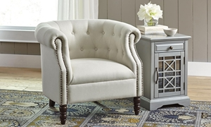 Jofran Grace Easy Living Ivory Tufted Traditional Club Chair with Nailhead Trim, Roll Arms and Turned Legs
