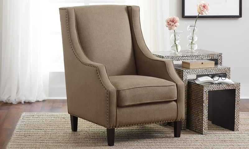 Jofran Morgan Easy Living Chestnut Brown Track Arm Accent Chair with Nailhead Trim and Tapered Feet