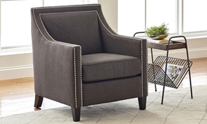 Jofran Contemporary Luca Easy Living Charcoal Gray Stain Resistant Track Arm Club Chair with Chrome Nailhead