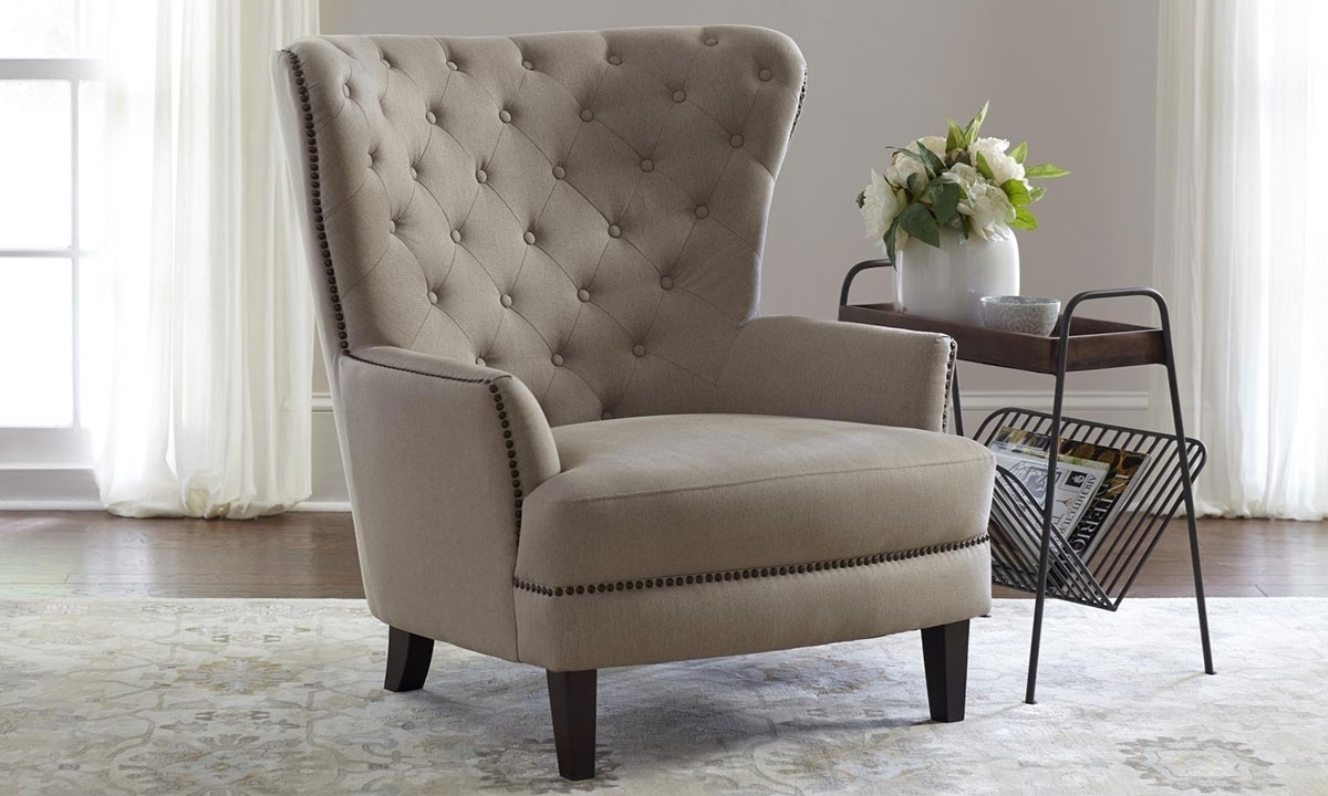 Living Room With White Wibg Chairs And Couch: Taupe Conner Traditional Wing-back Chair
