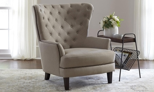 Jofran Conner Easy Living Taupe Stain Resistant Diamond Tufted Traditional Wingback Chair with Antique Nailheads