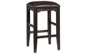 Oozlefinch Bernard Stout Brown Barstool with Faux-leather cushion and solid wood legs