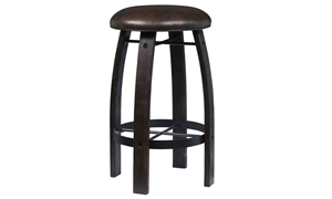 Oozlefinch Ox Cart Stout Brown Barstool with Faux Leather Cushion and Whiskey Barrel inspired wood legs