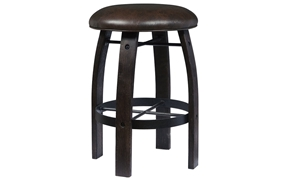 Oozlefinch Ox Cart Stout Brown Counter Height Stool with faux leather cushion and whiskey barrel inspired wood legs