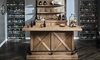 Oozlefinch Blonde Wood Rustic Storage Bar with metal footrest, bottle openers, drawers and shelves.