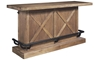 Oozlefinch Blonde Wood Rustic Storage Bar with metal footrest - front view