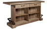 Oozlefinch Blonde Wood Rustic Storage Bar with drawers and shelves - back view