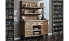 Oozlefinch Two-Piece Blonde Wood Industrial Storage & Display Cabinet with Shelves and Drawers