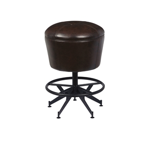 Oozlefinch Old Comfort Swivel Brown Faux Leather Counter Height Stool