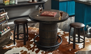 "Oozlefinch Sgt. Patches Stout Brown Barrel 44"" Counter Height Table with stools in bar"