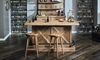 Oozlefinch Taps Blonde Wood Saddle Style Bar Stool at Rustic Modern Bar Height Table