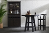 Oozlefinch Mill Creek Stout Brown Storage Cabinet with server, hutch and racks for stemware and wine bottles in modern dining space.