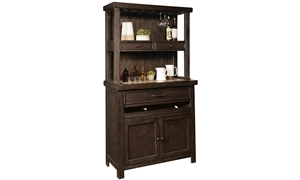Oozlefinch Mill Creek Stout Brown Storage Cabinet with server, hutch and racks for stemware and bottle storage.