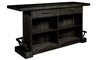 Oozlefinch Stout Dark Brown Rustic Storage Bar with Footrest, Bottle Openers and Shelves - Rear View