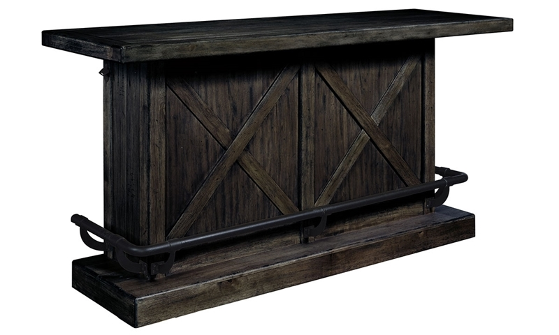 Oozlefinch Stout Dark Brown Rustic Storage Bar With Footrest, Bottle  Openers And Shelves   Front