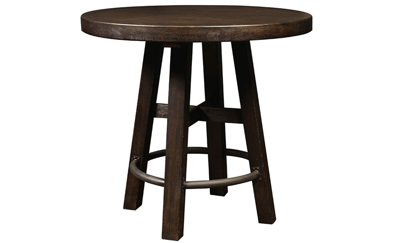 Oozlefinch Lady in White Stout Brown Round 46-inch Bar Height Table with Metal Footrest