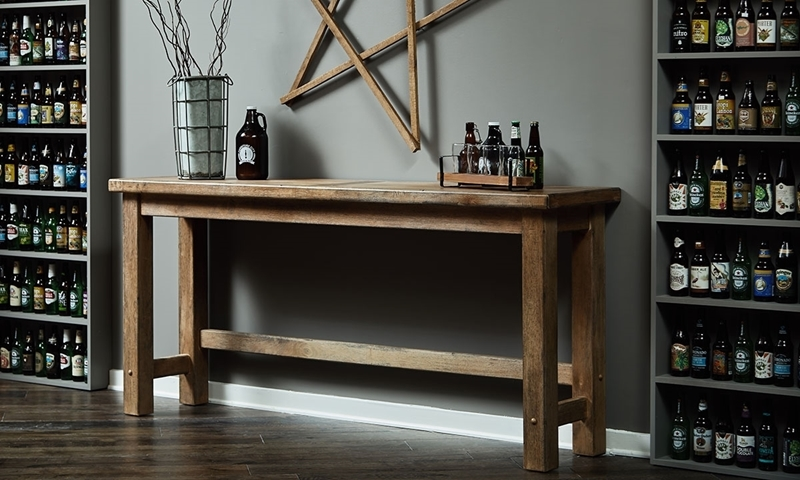 Oozlefinch Blonde Rustic 78-inch Tasting Table for living room or dining room.