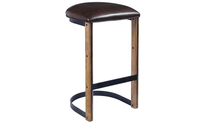 Oozlefinch Fenwick Blonde Minimalist Bar Stool with Brown Faux Leather Seat and Metal Base and Foot Rail