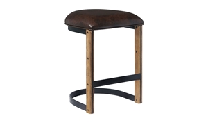 Oozlefinch Fenwick Blonde Minimalist Counter Height Stool with Brown Faux Leather seat and metal base