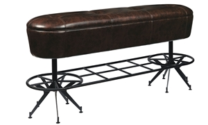 Oozlefinch Old Comfort Bar Height Brown Faux Leather Bench with Metal Foot Rail