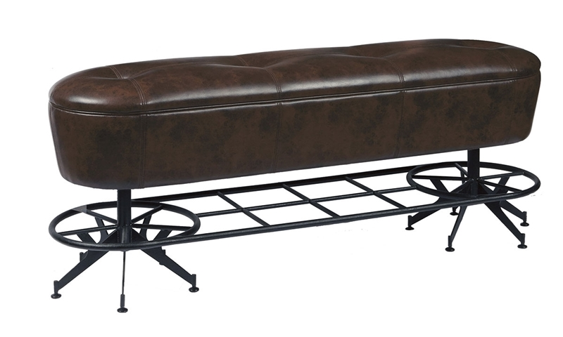 Oozlefinch Old Comfort Counter Height Brown Faux Leather Bench with Metal Foot rail and Base
