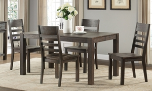 Salem 5-Piece Solid Acacia Dining Room Set with Table and 4 side chairs in cocoa brown