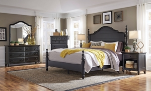 Aspenhome Retreat Shade Queen Poster Bedroom Set in Black Finish with bed, dresser and mirror.