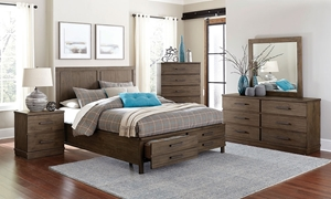 Beckham Rustic Contemporary Queen Solid Pine Storage Bedroom Set with two-drawer platform storage bed, 6-drawer dresser and matching mirror.