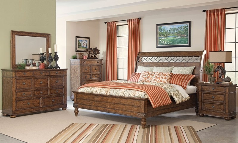 Klaussner Southern Pines Traditional Queen Sleigh Bedroom in Rustic Brown with Bed, 11-drawer dresser and matching mirror.