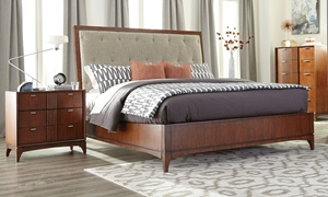 Klaussner Simply Urban Contemporary Cherry Brown Solid Wood King Bed with Neutral Upholstered Diamond Headboard with nightstand