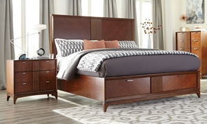 Klaussner Simply Urban Cherry Brown Contemporary Queen Storage Bed with nightstand