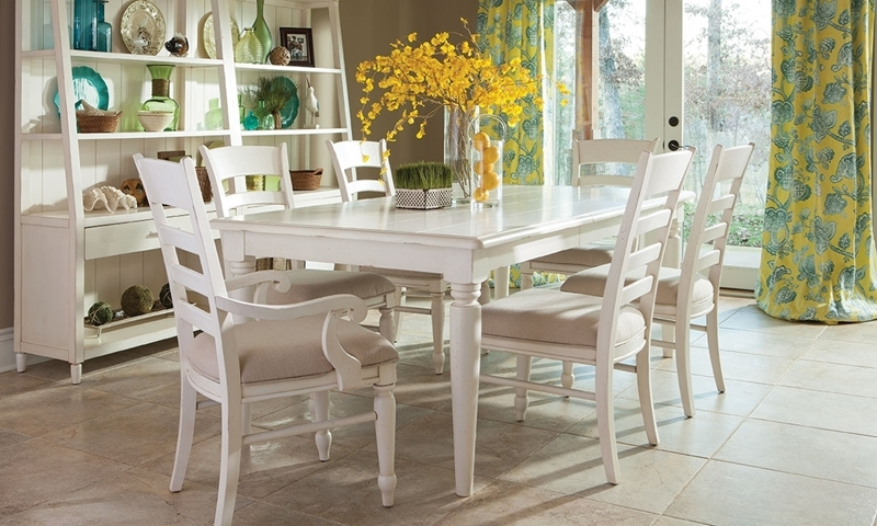 Klaussner Sea Breeze 7 Piece Coastal Cottage Dining Set In Antique White  With 84