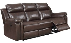 Jamestown 92-Inch Dual Reclining Brown Faux-Leather Sofa