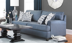 American-Made Stain Resistant Track Arm Sofa in Navy Blue with Toss Pillows