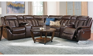 Agnes Triple Reclining Brown Faux-Leather Storage Sectional with Cup Holders in Family Room